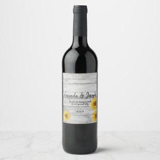 Étiquette Pour Bouteilles De Vin Tournesols en bois blancs rustiques épousant