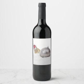 Étiquette Pour Bouteilles De Vin Vacances mignonnes d'argent de tamia et de Noël de