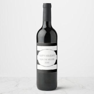Étiquette Pour Bouteilles De Vin Vin fait sur commande de Noël d'argent noir de