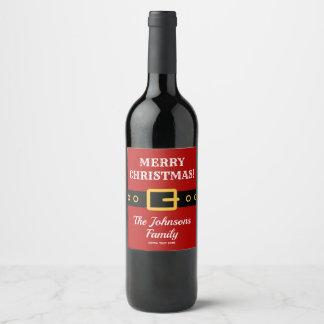 Étiquette Pour Bouteilles De Vin Vin personnalisé de costume du père noël de Joyeux