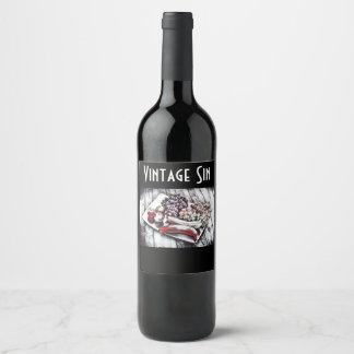 Étiquette Pour Bouteilles De Vin Vin vintage fait sur commande de péché