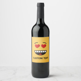 Étiquette Pour Bouteilles De Vin Visage de sourire avec les yeux en forme de coeur