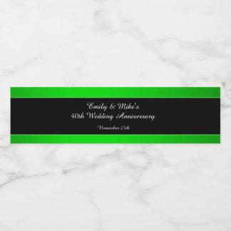 Étiquette Pour Bouteilles D'eau Anniversaire de mariage noir vert au néon