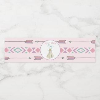 Étiquette Pour Bouteilles D'eau Anniversaire sauvage de Teepee tribal floral un ęr