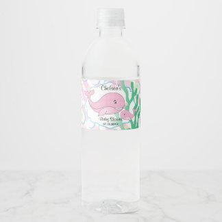 Étiquette Pour Bouteilles D'eau Baby shower de baleine pointillé par polka rose de