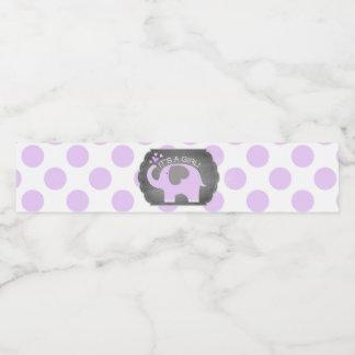 Étiquette Pour Bouteilles D'eau Baby shower de point de fille d'éléphant de