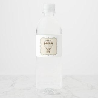 Étiquette Pour Bouteilles D'eau Ballon à air chaud vintage de Steampunk