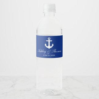 Étiquette Pour Bouteilles D'eau Bleu nautique d'ancre de mariage