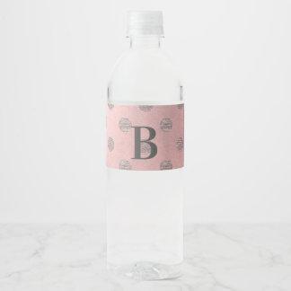 Étiquette Pour Bouteilles D'eau Chic moderne d'or de rose de pois fascinant rose