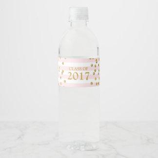 Étiquette Pour Bouteilles D'eau Classe rose de confettis d'or de rayure de