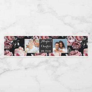 Étiquette Pour Bouteilles D'eau Collage rose de photo de mariage d'aquarelle