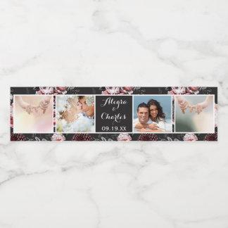 Étiquette Pour Bouteilles D'eau Collage victorien de photo de mariage de rose de