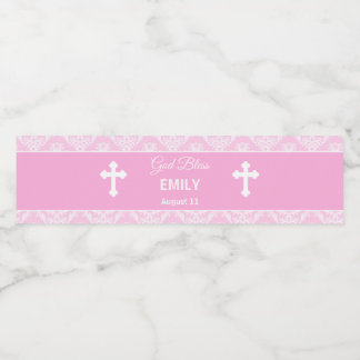 Étiquette Pour Bouteilles D'eau Damassé de fille de bouteille de rose de baptême