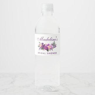 Étiquette Pour Bouteilles D'eau Douche nuptiale florale pourpre ultra-violette