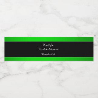 Étiquette Pour Bouteilles D'eau Douche nuptiale noire verte au néon d'étiquette de