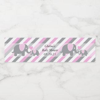 Étiquette Pour Bouteilles D'eau Éléphants blancs, roses et gris de rayure