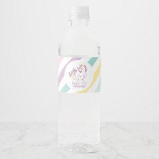 Étiquette Pour Bouteilles D'eau Fête d'anniversaire de filles de licorne