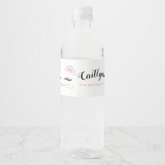 Étiquette Pour Bouteilles D'eau Fête d'anniversaire fascinante de chat