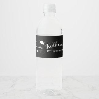 Étiquette Pour Bouteilles D'eau Fête d'anniversaire noire et blanche de chat