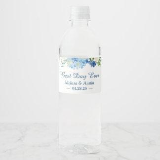 Étiquette Pour Bouteilles D'eau Jour floral d'hortensias bleus d'aquarelle
