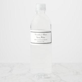 Étiquette Pour Bouteilles D'eau Le noir élégant a encadré l'étiquette de bouteille