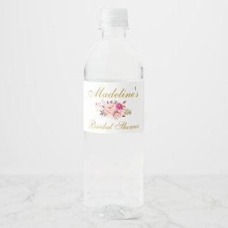 Étiquette Pour Bouteilles D'eau Le rose rougissent douche nuptiale florale d'or