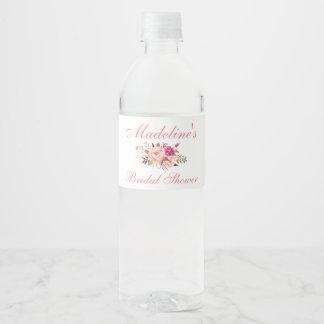Étiquette Pour Bouteilles D'eau Le rose rougissent la douche nuptiale florale P