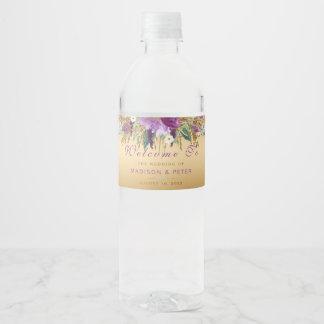 Étiquette Pour Bouteilles D'eau Le scintillement pourpre fleurit le mariage d'or