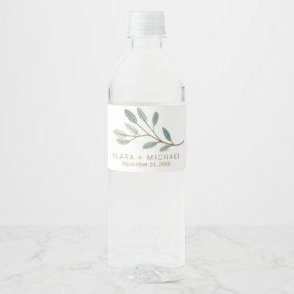 Étiquette Pour Bouteilles D'eau Mariage d'eucalyptus veiné par or