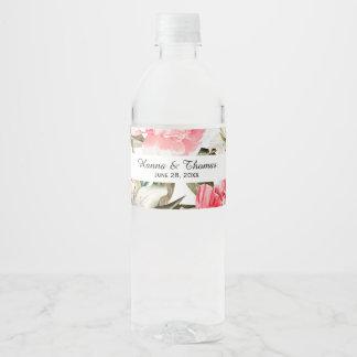 Étiquette Pour Bouteilles D'eau Mariage floral blanc de pêche