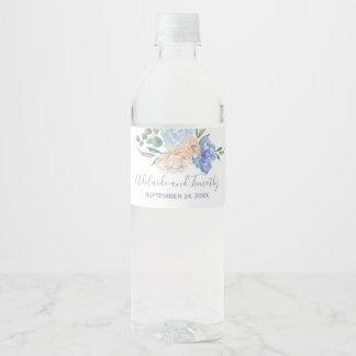 Étiquette Pour Bouteilles D'eau Mariage floral bleu poussiéreux