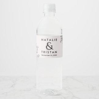 Étiquette Pour Bouteilles D'eau Mariage floral d'esperluète