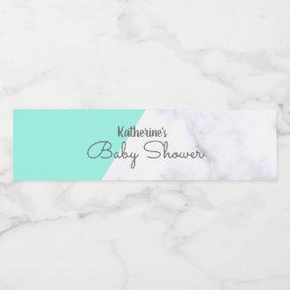 Étiquette Pour Bouteilles D'eau Menthe élégante et baby shower de marbre blanc