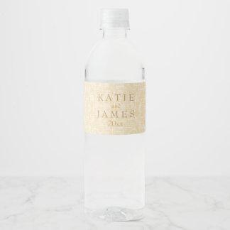 Étiquette Pour Bouteilles D'eau Or et dentelle étincelants