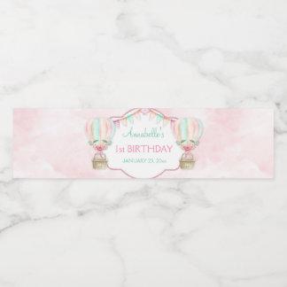 Étiquette Pour Bouteilles D'eau Pêche chaude de rose de menthe de ballon à air