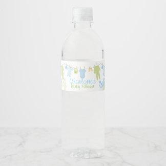 Étiquette Pour Bouteilles D'eau Petit baby shower bleu et vert de vêtements