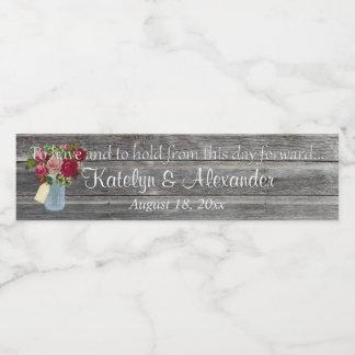 Étiquette Pour Bouteilles D'eau Pot de maçon rose de bouquet de voeux de mariage