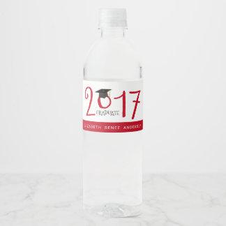 Étiquette Pour Bouteilles D'eau Texte original, diplômé 2017 en rouge et blanc