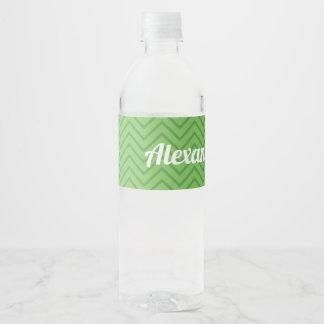 Étiquette Pour Bouteilles D'eau Zigzag personnalisé de vert d'étiquette de