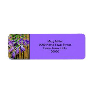 Étiquette pourpre de floraison de fleur de Hosta