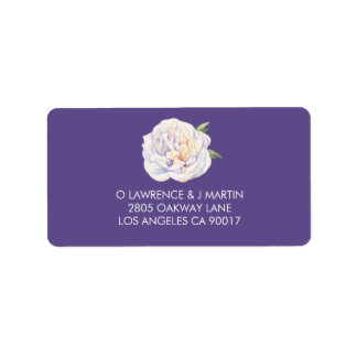 Étiquette Pourpre violet d'aquarelle florale de pivoine