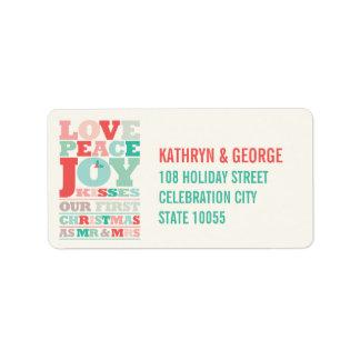 Étiquette Premiers M. et Mme Holiday Photo Greetings de Noël