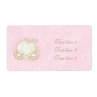 Étiquette Princesse rose-clair Label de chariot d'or de