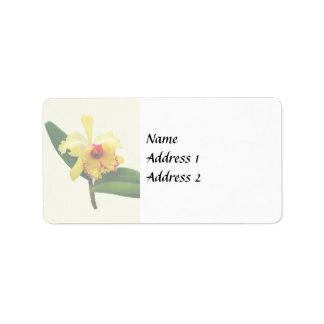 Étiquette Produits jaunes de mariage d'orchidée inclinés par