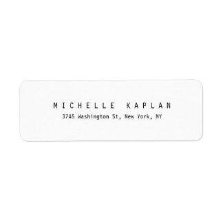 Étiquette Professionnel minimaliste blanc noir classique