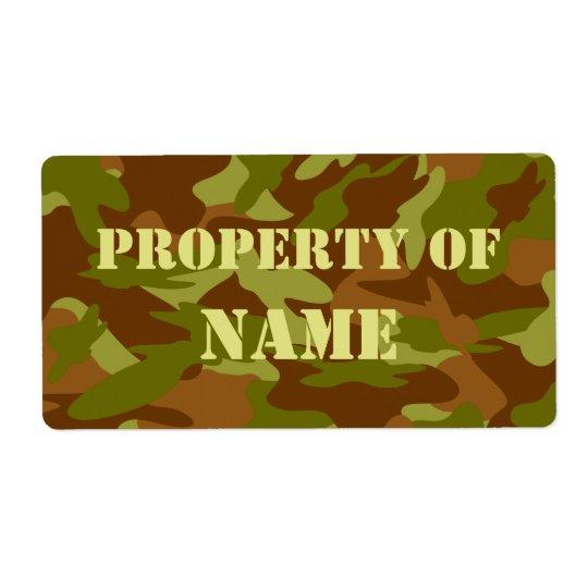 Étiquette Propriété de l'étiquette nommé - kaki Camo