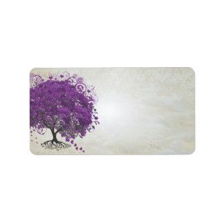 Étiquette Purple Heart lunatique a poussé des feuilles arbre