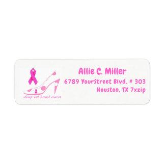 Étiquette Quittent d'un pas lourd le ruban rose de cancer du