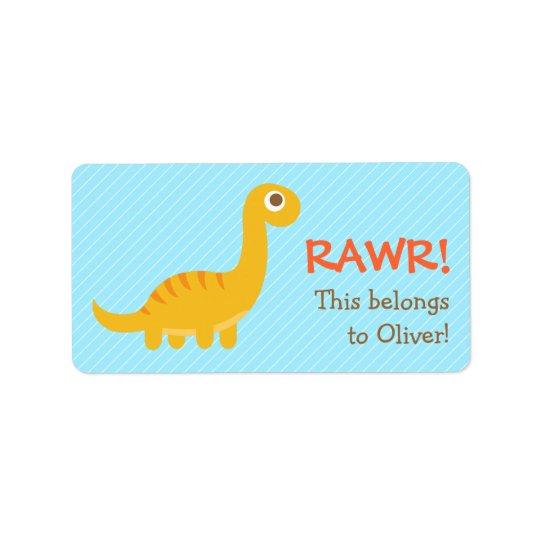 Étiquette Rawr, dinosaure jaune mignon de Brachiosaurus pour