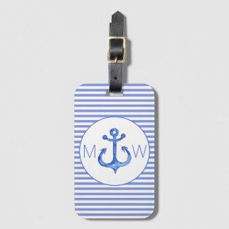 Étiquette rayée nautique de bagage de bleu marine étiquette pour bagages